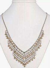 LP Jewelry Sterling Silver& 14KT Gold Diamond Shape Necklace Downton Abbey Style