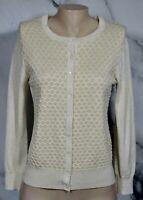 CHARTER CLUB Ivory Metallic Gold Cardigan Sweater Medium Honeycomb Pattern Front