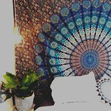 Indische Mandala Blauer Pfau Baumwolle Wandbehang Dorm Deco Mandala Tapestry