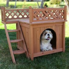 Durable Multicolor Small Cedar Stain Wooden Dog House for Indoor and Outdoor