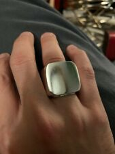 Solid Custom Made 925 Silver Square Ring.