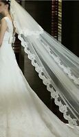 new ivory white Veil Chapel bridal wedding party prom floor length lace mantilla