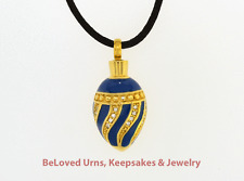 Blue & Gold Egg Cremation Jewelry Pendant Urn Keepsake - Silk Necklace & Funnel