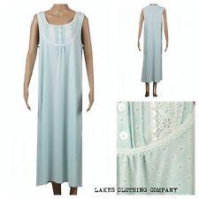 M&S Ladies COTTON Nightdress Nightie Mint Green Floral Long Full Length 8-22