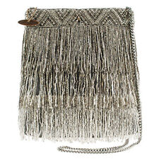Mary Frances Shimmer Falls Silver Tassel Flowers Summer17 Beaded Bag Handbag NEW