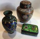 Lot+3+Antique+or+Vintage+Japanese+Foil+Cloisonne+Pieces+Vase+Box+Ginger+Jar