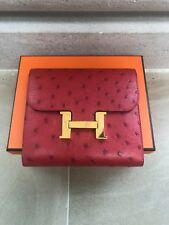 HERMES 2017 Constance Short/Compacte Wallet in Ostrich Leather  Rouge Vif Red