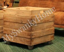Horchow RUSTIC WOOD Bunching Cube Table Removeable Tray Cottage Driftwood Square