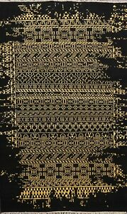 Modern Abstract Black/Gold Distressed Look Oriental Area Rug Hand-Knotted 5x8