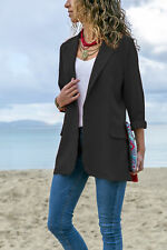 UK Womens Autumn Laple OL Blazer Coat Ladies Office Long Sleeve Jacket Outwear