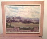 vintage 1969 original signed oil painting land mountain scape on canvas framed
