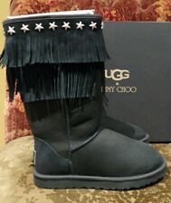 UGG & JIMMY CHOO Black Suede Sheepskin SORA Fringed Star Studded Boots Size 9
