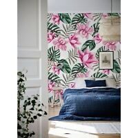 Garden Pink Flowers and Leaves Non-Woven wallpaper Traditional wall Home Mural