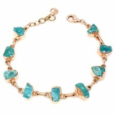 Rough Neon Blue Apatite 11x5mm 14K Rose Gold Plate 925 Sterling Silver Bracelet
