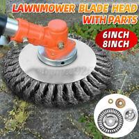 """Trimmer Head 6/8"""" Weed Brush Steel Wire Wheel Garden Lawn Mower Grass Cutter"""