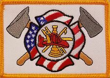Firefighter  Patch W/ VELCRO® Brand Fastener USA Flag & Axe Emblem