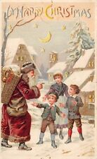 HOLD TO LIGHT SANTA IN RED SUIT CHRISTMAS PC, WOMAN & 2 CHILDREN, c. 1907-14