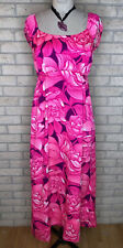 Vintage 1970s Sa-Ne Women's Neon Floral Maxi Dress Size 10 Aloha Made In Hawaii
