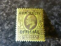 GB EDVII POSTAGE & REVENUE ADMIRALTY OFFICIAL STAMP SG0106 3D PURP/YELLOW LMM
