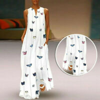 Summer Women's Striped Butterfly Print V-neck Sleeveless Large Swing Maxi Dress