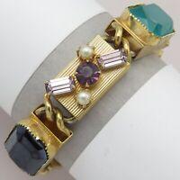 Vtg Victorian Revival Goldtone Boxchain Glass Rhinestone Pearl Bracelet