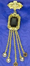 """Vintage GOLDETTE signed Brooch / Pin 5 Crystals dangles Lapel Pin Cut Glass 5"""""""