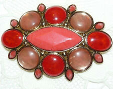 Vintage LIZ CLAIBORNE Gold Tone Shades of Red Simulated Stone Brooch/Pin  A64*
