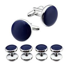 HAWSON Silver Blue Cufflinks and Tuxedo Studs Set for Mens Dress Shirt Business