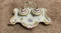 19th Century Antique French Porcelain Inkwells with Tray Hand Painted Rare