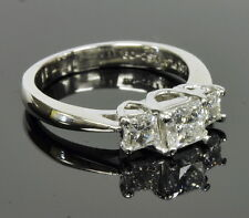 "14k White Gold ""The Leo"" 1 Cttw Princess Diamond Three Stone Engagement Ring"