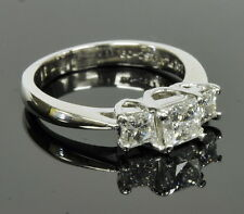 "14k White Gold ""The Leo"" 1 Cttw Princess Diamond Three Stone Engagement Ring"
