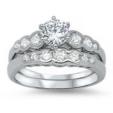 Round Solitaire Cz Set .925 Sterling Silver Ring Sizes 5-11