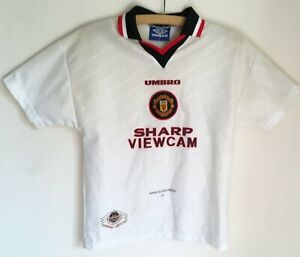 #64 Kid's 12 yrs Manchester United Soccer Jersey Classic 1996 Away Genuine UK