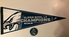 PHILADELPHIA EAGLES 2018 SUPER BOWL LII CHAMPIONS NFL FOOTBALL PENNANT+BUTTON