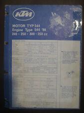 KTM 1986 Part Number Diagram Poster ENGINE Type 544 240 250 300 350 cc Manual