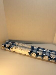 """2 """"Hanukkah"""" Heavy Weight Lourd Gift Wrapping Paper 30""""x12"""" each Blue & White"""