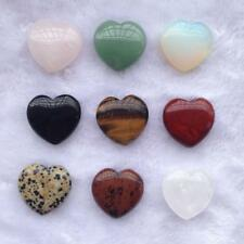 BIN Crystal Love Worry Heart Stone Carved Puff Palm Pocket Healing Balancing