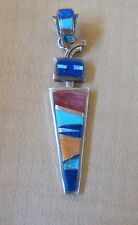 Navajo Sterling Silver Inlaid Shaman Pendant, Signed V. Yazzie