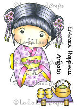 KIMONO MARCI WITH TEA-La-La Land Crafts Rubber Stamp-Stamping-Geisha-RETIRED