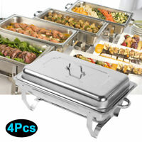 4 Pack Chafing Dish Sets Buffet Catering Stainless Steel Food Warmer 9L/8 Quart