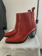 Ganni Red Patent Leather Cowboy Boots EU39/ US9