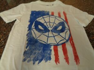 Old Navy Spider-man Flag SS T-Shirt Youth Boys Large (10-12) White NWT