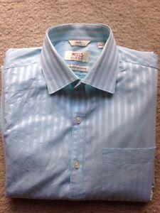 Wills Classic Blue Striped Slim Fit Men's Shirt Size 39
