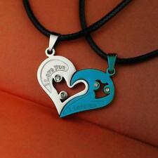 His & Hers Heart I love you Stainless Steel Pendant Couples Necklace (2 Pc.) Set
