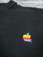 1980s Rainbow APPLE Computer EMPLOYEE Logo Sweater Vtg Mac Black USA Made sz L
