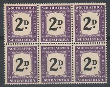 SOUTH AFRICA 1948 POSTAGE DUE 2D BLOCK NO HYPHEN MNH **