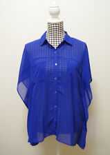 FOREVER NEW TOP BLUE SHEER BUTTON DOWN TOP, Sz 10 (s21)