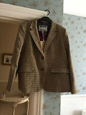 Joules BNWT brown dog tooth check tweed jacket size 18 women's ladies blazer