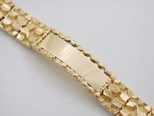 "8"" MENS GOLD EP NUGGET ID BRACELET 5/8"" WIDE"