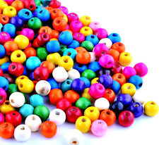 100 x Assorted Candy Colours Round Wooden Spacer Beads. 8mm x 6mm. Arts & Crafts